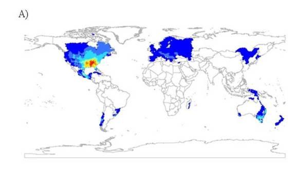 Freshwater crayfish species richness. Scale: 0-11 species.